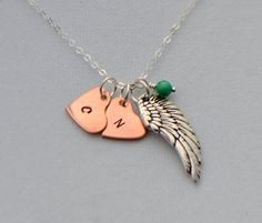 Silver Wing and Copper Heart Initial Charm Necklace by SeaSaltShop, $29.00
