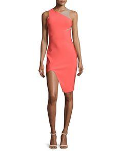 Sleeveless Mega Milano Mesh-Inset Dress, Coral, Women's, Size: 10 - Mugler