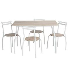 Viseeko Kitchen Table with 4pcs Dining Room Chairs Set Wood Top Metal Finish for a Breakfast Nook or Small Dining Space *** Want additional info? Click on the image.