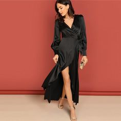 Wrap Wedding Dress, Maxi Wrap Dress, Boho Dress, Silk Dress, Black Long Sleeve Dress, Lady, Dress To Impress, Designer, Clothes