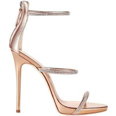 Giuseppe Zanotti Women's Coline Strappy Crystal Sandals ($950) ❤ liked on Polyvore featuring shoes, sandals, heels, gold, metallic gold sandals, clear shoes, strap sandals, strap heel sandals and clear heel shoes