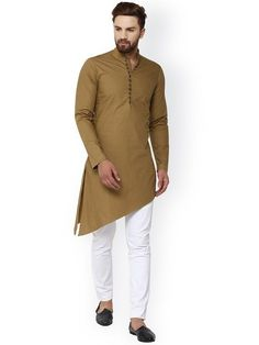 Indian Shirt Brown Cotton Kurta tunic Brown solid Plus size loose fit Big and tall Kurta Pajama Men, Kurta Men, Indian Kurta, Pakistani Kurta, Boys Kurta Design, Mens Ethnic Wear, Kurta Style, Mens Kurta Designs, Big And Tall Outfits