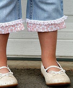 When the jeans are tattered at the hem or too short - cute way to repurpose!