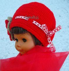 Tavaszi piros lányka sapka !  rendelhető: idozsaster@gmail.com Lany, Crochet Hats, Knitting Hats