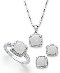 Sterling Silver Jewelry Set, Opal (4-3/4 ct. t.w.) and Diamond Accent Necklace, Earrings and Ring Set - FINE JEWELRY - Jewelry & Watches - Macy's
