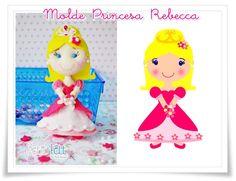 Felt princess pattern Molde princesa de feltro