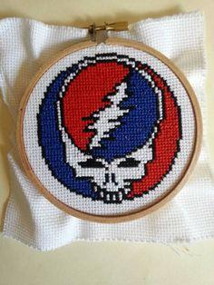 Grateful Dead Stealie Face 4 hoop cross by littlehippiechick