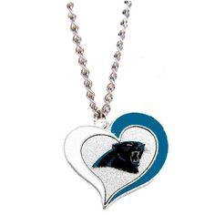 Carolina Panthers Swirl Heart Necklace