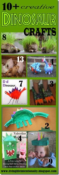 Tons of Dinosaur Crafts for Kids - really creative, unique crafts for preschool, kindergarten, and elementary age kids