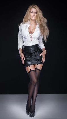 Model In A Leather Skirt