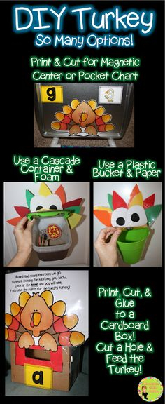 DIY Turkey. Great for Turkey Trouble. Plus, a    free poem to get kids practicing basic skills with a ton of fun!