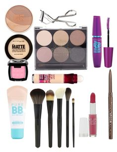 """Make up starter kit"" by ejianita on Polyvore featuring beauty, Maybelline, Forever 21, Stila and Benefit"