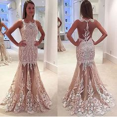 27190fd1cee04 Newest Nude Appliques Prom Dresses, Sexy See Cute Prom Dresses, Mermaid  Prom Dresses,. Luulla