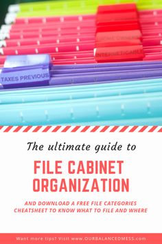 The Ultimate Guide to File Cabinet Organization is part of Office Organization Printables - Ultimate tips and printables that will help you get your paper clutter finally organized Starting out with the file cabinet for deep impact! Filing Cabinet Organization, Office Organization At Work, Organizing Paperwork, Clutter Organization, Organization Ideas, Office Ideas, Filing Cabinets, Organizing Life, Office Designs