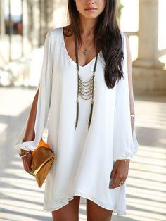 White Dress,Chiffon Dress,Chiffon Shift Dress