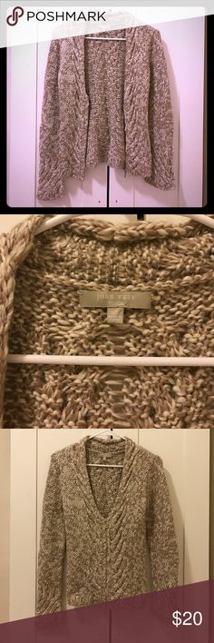 Joan vass sweater Beige and white knit scoop neck sweater with zipper, XS Neiman Marcus Sweaters Crew & Scoop Necks
