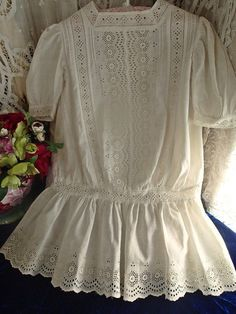 Beautiful! Antique White Eyelet French Broderie Anglaise Lace Baby Doll Dress ~ Vintageblessings