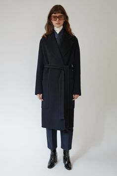 Carice Doublé navy   Acne Studios Carice Double navy is a long, belted double coat with an easy fit.   #PAW17