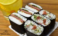 Spam musubi and ume furikake musubi