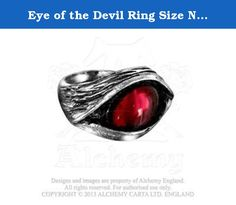Eye of the Devil Ring Size N, US 6.5 by Alchemy Gothic, England. Hypnotically sinister blood red Swarovski crystal eye, staring into the eye of any onlooker. Items sold by us (Alchemy of England) are guaranteed to be genuine Alchemy England products and sold with an Alchemy England Product Warranty.