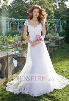 Chic Cute Square Neck Cap Sleeves Lace&Applique Sweep Train A Line Wedding Dress [2015PWedding-017] - $ 249.99 :