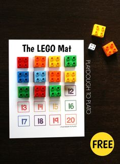 Free LEGO Mat plus 5 fun ways to use it. Hands-on way to teach colors, practice counting, addition, subtraction. so many math skills! *Also make a skip counting by mat with these square Legos! Math For Kids, Fun Math, Lego Math, Lego Duplo, Lego Craft, Addition And Subtraction Practice, Playdough To Plato, Lego Activities, Maths Resources
