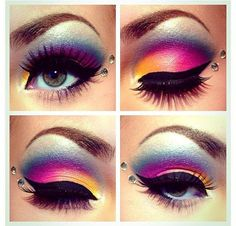Rockeresque Model and Mua Jessie Blush is giving your rainbow ice cream realness with this vibrant eye candy creation! Products used: XOXO, Jack-o-Lantern, Chicklet, Platinum Blonde, and Tear Drop.