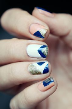glittery chevron and triangle nails