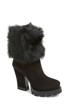 """Free shipping and returns on Prada Shearling & Suede Lug Sole Mid Boot (Women) at Nordstrom.com. 4"""" heel; 1"""" platform (size 38.5).<br>6 1/2"""" shaft.<br>Pull-on style.<br>Suede and genuine shearling (Spain) upper/leather lining/leather and rubber sole.<br>By Prada; made in Italy.<br>Salon Shoes."""