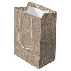 Rustic Country Burlap Farmhouse Barn Wedding Favor Medium Gift Bag - bridal shower gifts ideas wedding bride