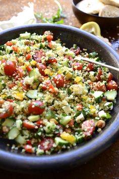 A zesty Tabbouleh inspired bulgur wheat salad with chickpeas, feta and sweet peppers with mint and rocket - an easy recipe for healthy summer salads Middle Eastern Salad Recipe, Middle Eastern Salads, Bulgar Wheat Salad, Bulgur Salad, Couscous, Bulgur Recipes, Salad Recipes, Healthy Recipes, Diet Recipes