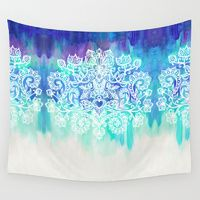 Wall Tapestries featuring Indigo & Aqua Abstract - doodle painting by micklyn