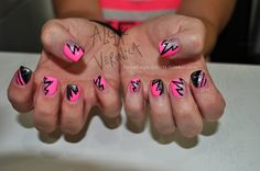 Electric hot pink nails