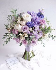 Numerous brides may know the wedding event flower they desire in their own bouquet, but are a little mystified about the remainder of the wedding flowers needed to complete the event and reception. Purple Flower Bouquet, Purple Wedding Bouquets, Prom Flowers, Wedding Flower Arrangements, Bridal Flowers, Flower Bouquet Wedding, Floral Bouquets, Purple Flowers, Floral Arrangements