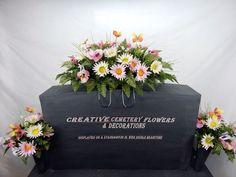 Deluxe  Cemetery Silk Flower Memorial Headstone/Tombstone Saddle + Vase Bushes