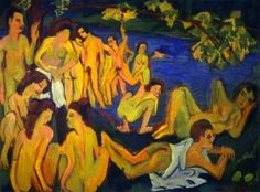 Ernst Ludwig Kirchner- Bathers at Moritzburg  - 19/09/26 - The colours that are shown on this piece of art express happiness and celebration between bathers. Maybe theyre celebrating life?