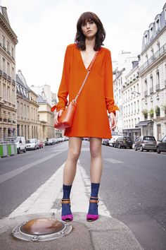Sonia by Sonia Rykiel | Spring 2016 Ready-to-Wear | 14 Orange long sleeve mini dress with V-neck