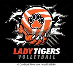 Lady tigers volleyball design with claw holding ball and ripping through background for school, college or league. Vector Clipart, Eps Vector, Vector Stock, Vector Art, Volleyball Designs, Tiger Paw, Art Icon, Sports Activities, Free Illustrations