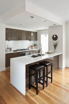 Kitchen island ideas for inspiration on creating your own dream kitchen. diy painted small kitchen design - with seating, lighting Kitchen Sets, Home Decor Kitchen, Kitchen Layout, Kitchen Island, Kitchen Small, Kitchen Paint, Narrow Kitchen, Diy Kitchen, Modern Kitchen Design