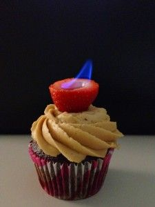 """""""Flaming"""" Stout Beer Cupcakes....how can I resist this.   beer, on fire, & all in a cupcake....holly rollin love of beer!"""