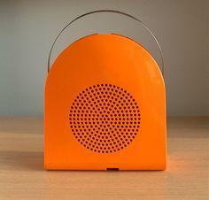 Grundig Phono Boy portable record player | Designer: Mario Bellini. 1968 #orange #stylepark #design #modern #retro #vintage #midcentury #mcm #radio