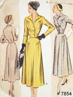 Vintage 40s Dress Pattern  McCall
