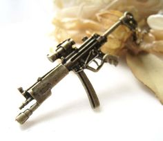 Antique Brass MP5 Sub-Machine Gun Pendant Necklace.