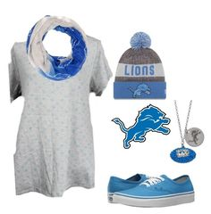 """""""LuLaRoe XL Classic T.  Detroit Lions Football. www.lularoesarahbeard.com"""" by shannon-duncan-1 on Polyvore featuring New Era, Forever Collectibles and Vans"""