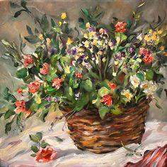"Original Oil by Moonglance ""Flowers in A Basket 12""x12""x1 5 Still Life   eBay"
