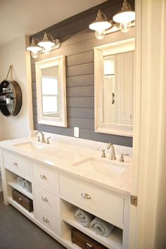 A DIY bathroom makeover doesn't have to take a lot of time or a giant budget. Check out these DIY bathroom makeover tips and inspiration! Bathroom Renos, Bathroom Renovations, Home Remodeling, Bathroom Ideas, Bathroom Designs, Basement Bathroom, Bathroom Cabinets, Bathroom Vanities, Modern Bathroom