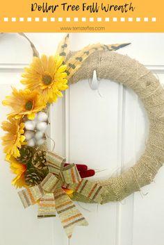 Dollar Tree Fall Wreath Tutorial #pinterestchallenge   Our Good Life