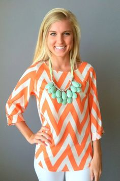 Chevron shirt + turquoise necklace. NEED