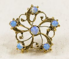Vintage 14K Yellow Gold Synthetic & Created Opal Swirl Brooch Pin 6.8 grams FREE SHIPPING! $319.00