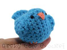 Blue Bird Amigurumi Crocheted Plush Tiny Cute by GeekyCuteCrochet